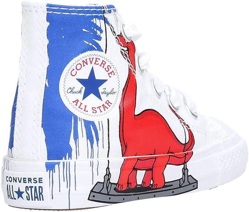 Converse Baskets imprimé blanc dinosaure hautes en toile