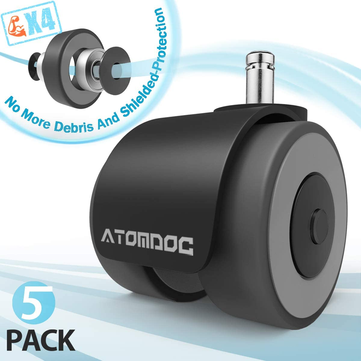 ATOMDOC Office Chair Caster Wheels, Newly Revolutionary Quadruple Ball Bearing Design,Heavy Duty & Safe Protection for All Floors Including Hardwood, Set of 5