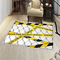 Police Rug Kid Carpet Police Line Do Not Pass Crime Scene Investigation Bands on a Wire Cloth Prinit Home Decor Foor Carpe 3x4 Yellow Black