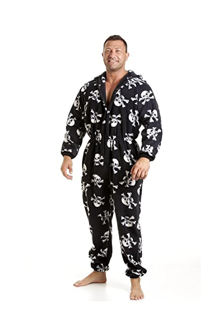 Camille Mens Black All in One Pyjama in A Red Or White Skull Print at Amazon Mens Clothing store: