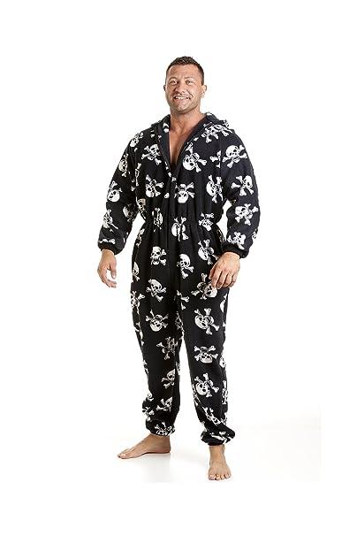 Pijama polar de una pieza de hombre - Calaveras en blanco/negro - Talla S