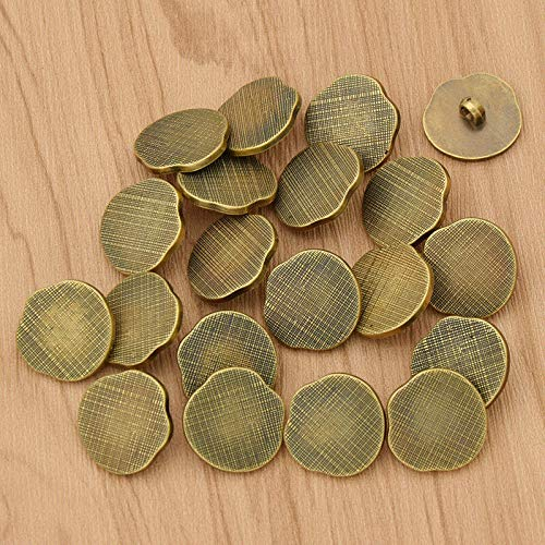 20pcs Vintage Style DIY Buttons Antique Silver Plastic Shank Buttons for Sewing (Model - #01 Bronze)