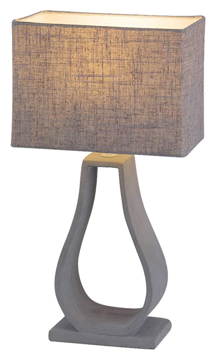 Tischleuchte Robert aus concrete Textil betonfarben grau Ø22cm H 40cm mit Schalter