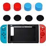 For Nintendo Switch 11 in 1 Silicone Case Cover + Joystick Cap Anti-Slip Jon-Con Anti-Slip Silicone Protective Skin Case…