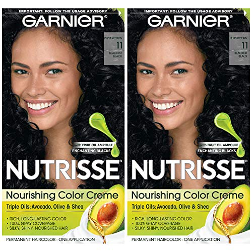 Garnier Hair Color Nutrisse Nourishing Creme, 11 Blackest Black, 2 Count