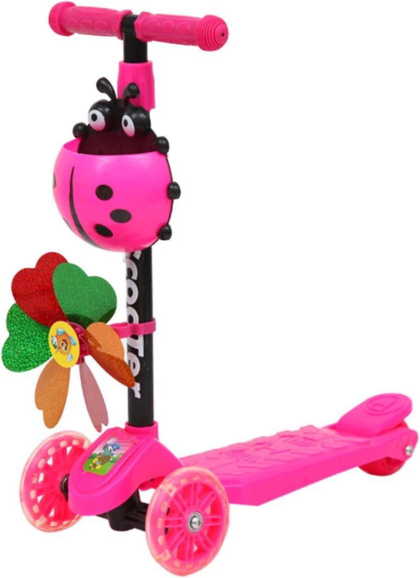LAOSI Molino de Viento Mariquita Vespa Plegable y Regulable en Altura magra para Steer 3 Scooters de Rueda para niño niños Niños Niñas Edad 3-8