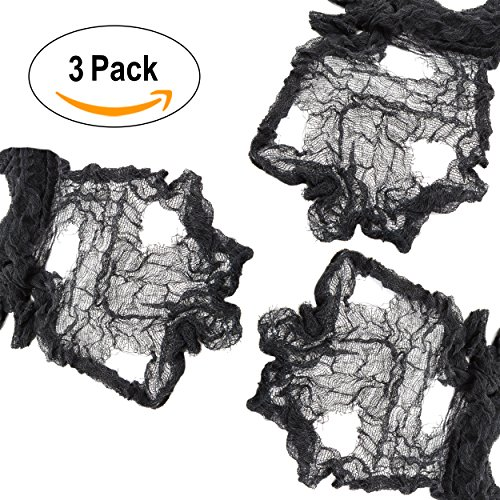 Black Creepy Cloth, Spooky Halloween Decorations for Haunted Houses Party Doorways Outdoors, 3 Pack of 4 Yards = 12 Yards x (Spooky Decorations For Halloween)