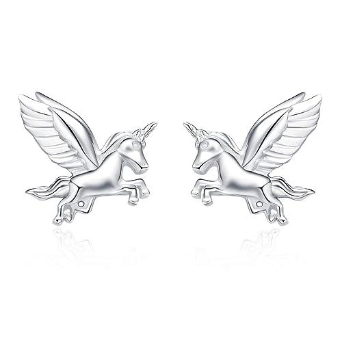 0cd55b7bb Amazon.com: YFN Sterling Silver Unicorn Two-Tone Pendant Necklace for Women  Girls (Unicorn Studs Earrings): Jewelry