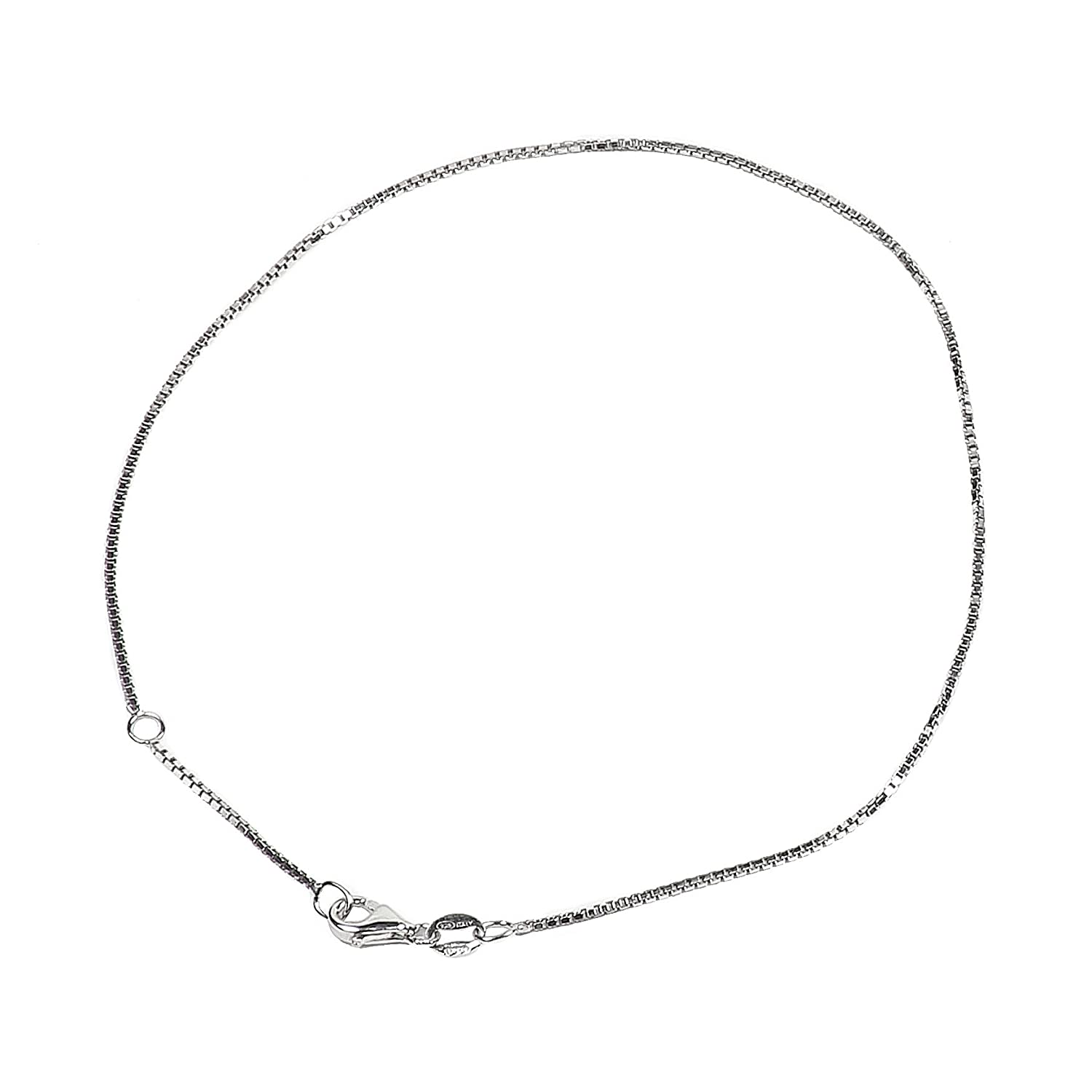 925 Sterling Silver Diamond-Cut Box Chain with Pear Shape Clasp-Rhodium Finish Chain Craft USA BX100D4-10RHLP0