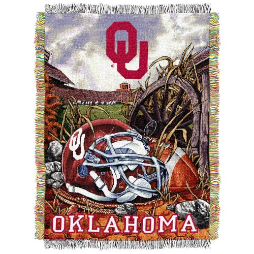 (The Northwest Company Officially Licensed NCAA Oklahoma Sooners Home Field Advantage Woven Tapestry Throw Blanket, 48