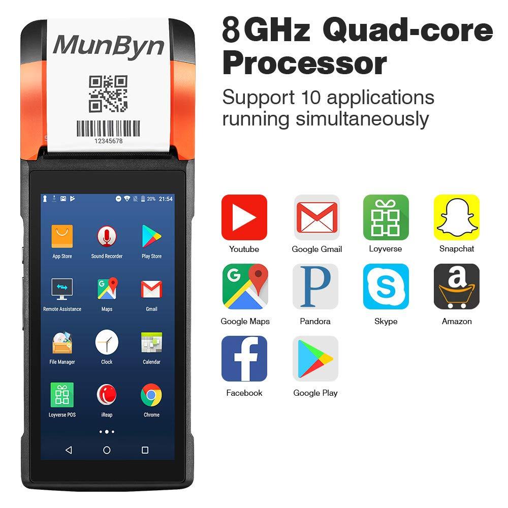 Terminale POS Android palmare da 5,45 INCH con stampante termica incorporata 4G WIFI Bluetooth MUNBYN Android 7.0