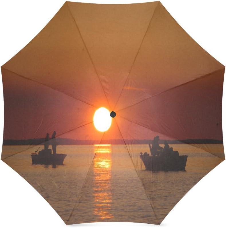 Custom Sunset Sailing Ship Compact Travel Windproof Rainproof Foldable Umbrella