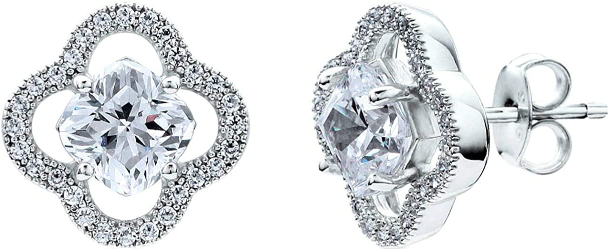 BERRICLE Sterling Silver Cushion Cut CZ Solitaire Stud Earrings