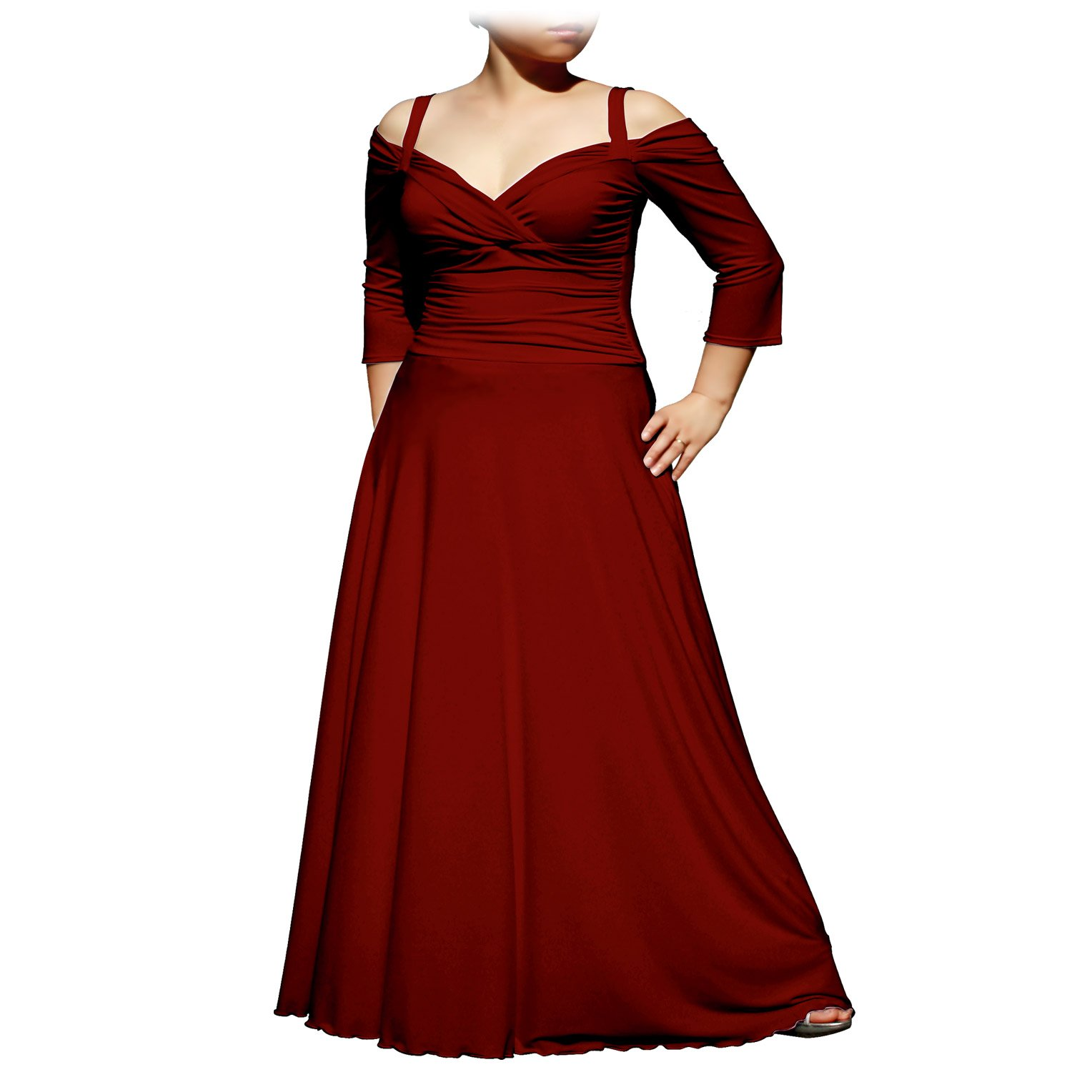 EVANESE Women's Plus Size Elegant Long Formal Evening Dress with 3/4 Sleeves D86635