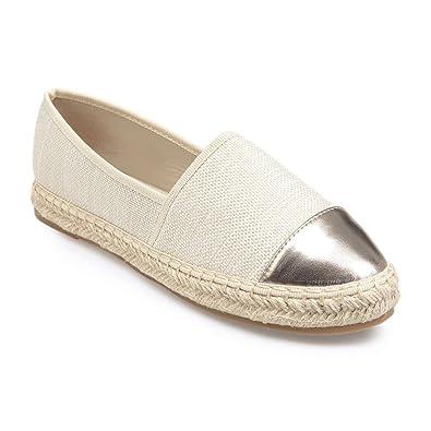 La Modeuse Espadrilles en toile beige bout métallisé Beige - Chaussures Espadrilles Femme