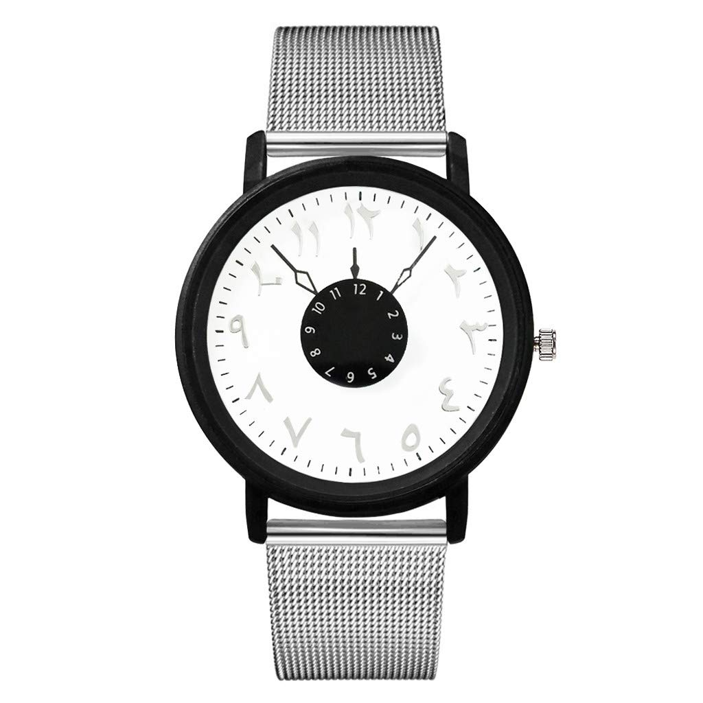 Women Number Wrist Watches Unisex Casual Clock with Milanese Mesh Metal Strap by Bravetoshop(B)
