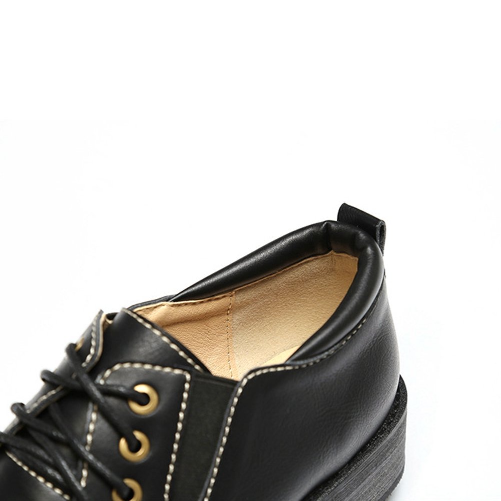 T-JULY Womens Fashion Oxfords Shoes Performance Slip-On Elastic Low Heel Round Toe Glossy Shoes