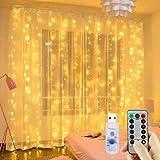 Cortina de luces LED, GLURIZ 3 * 3M 300LED Luz led, Lámpara lluminación de decoración para ventanas, fiestas, bodas y navidad