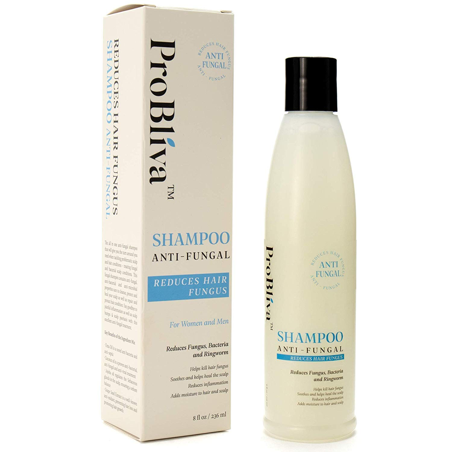 ProBliva Fungus Shampoo for Hair & Scalp - for Men and Women - Fights Fungus, Ringworm, Itchy Scalp - Antimicrobial, Anti-Bacterial - Contains Natural Ingredients Coconut Oil, Jojoba Oil, Emu Oil by ProBliva