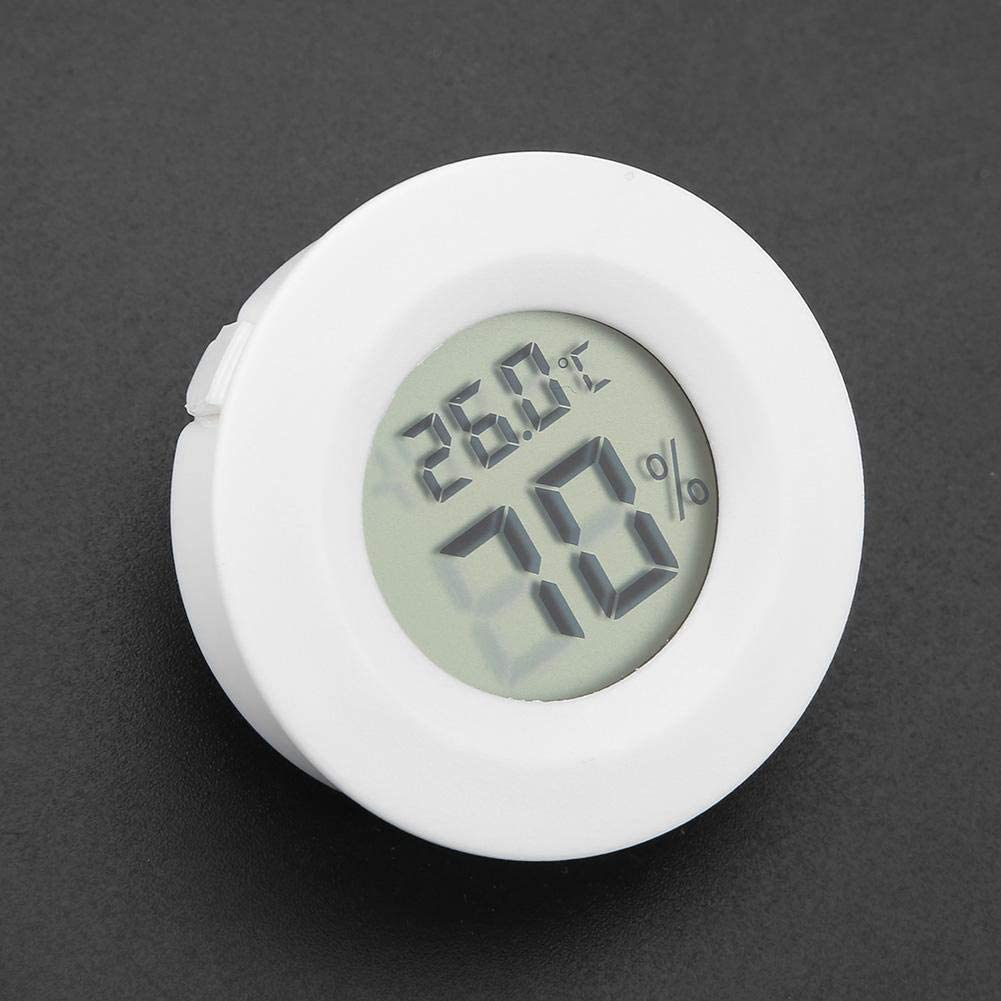 Digital thermometer hygrometer with LCD display black Battery charge refrigerated cabinet Mini Reptile Thermometer Bewinner Black//White Round Temperature Humidity Meter for Reptile