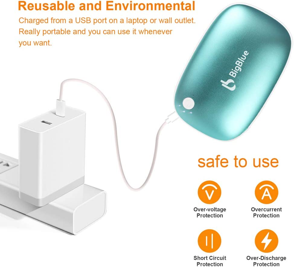 BigBlue Rechargeable Hand Warmers 3-in-1,6000mAh Battery Charger