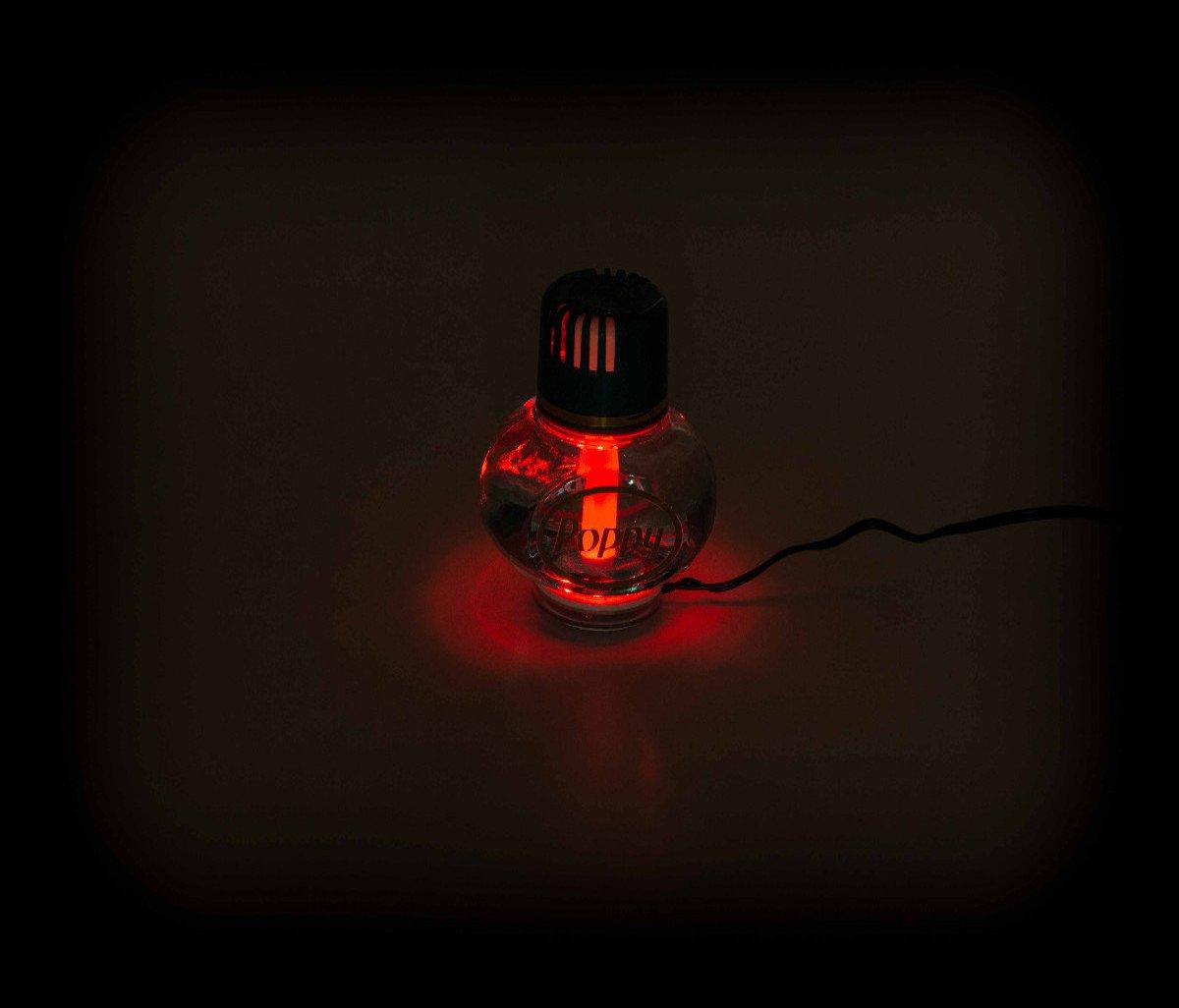 Lufterfrischer Poppy mit LED Beleuchtung 24V in rot oder weiß , Inhalt 150 ml, lieferbar in 5 Duftnoten (Rot Duft Vanille) ALL Ride und Poppy