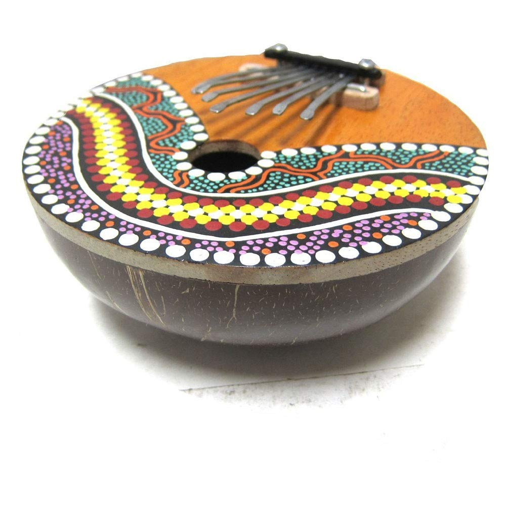 Handmade Coconut Shell Painted Kalimba 7 Keys Thumb Piano African Mbira Sanza Finger Piano Metal Tines Kids Musical Instrument Gifts Random Design (Color : Coconut, Size : Free Size) by TAESOUW-Musical