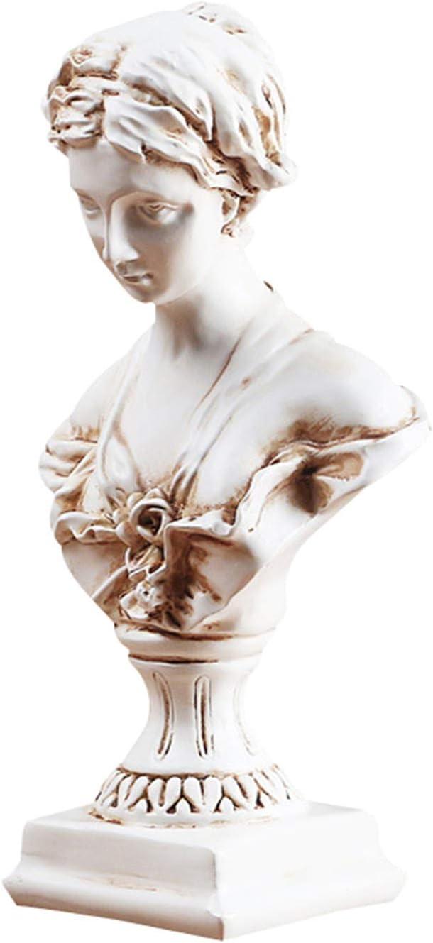 VELIHOME Small Greek Girl Bust Sculpture, Art Decor Resin Craft Figurine Ornament for Home Office Shelf (Size:12x9x22cm)
