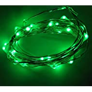 Viewpick 4m 40 LEDs Green Fairy Lights Silver Wire String Lights AA Battery Powered Led String Starry Light for Outdoor St. Patrick's Day Decoration Halloween Christmas Holiday Wedding Parties