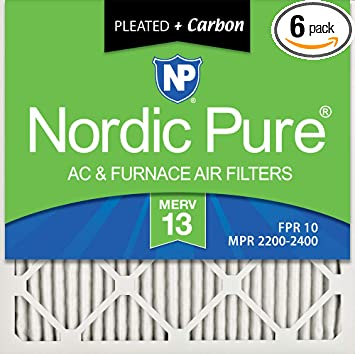 Nordic Pure 16x16x1 MERV 13 Tru Mini Pleat AC Furnace Air Filters 4 Pack