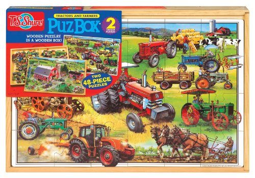 (T.S. Shure American Tractors Jumbo Wooden Puzzles in a Wooden Box (2 Puzzles))