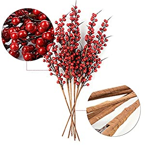 "AHZZY Artificial Berry Stems, 22"" Long 10 Pack Christmas Red Berries Artificial Fruit Berry Holly Flower Branch for Home Holiday Wedding Party DIY Christmas Tree Crafts Decor 92"