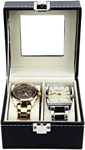 Watch Box - Luxury PU Leather Boxes for Men or Women - Modern, Glass Top Organizing Watches (2 Slot)