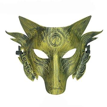 Máscara Dorada del Hombre Lobo Juego de Imaginación Máscara Facial del Partido de Halloween de la