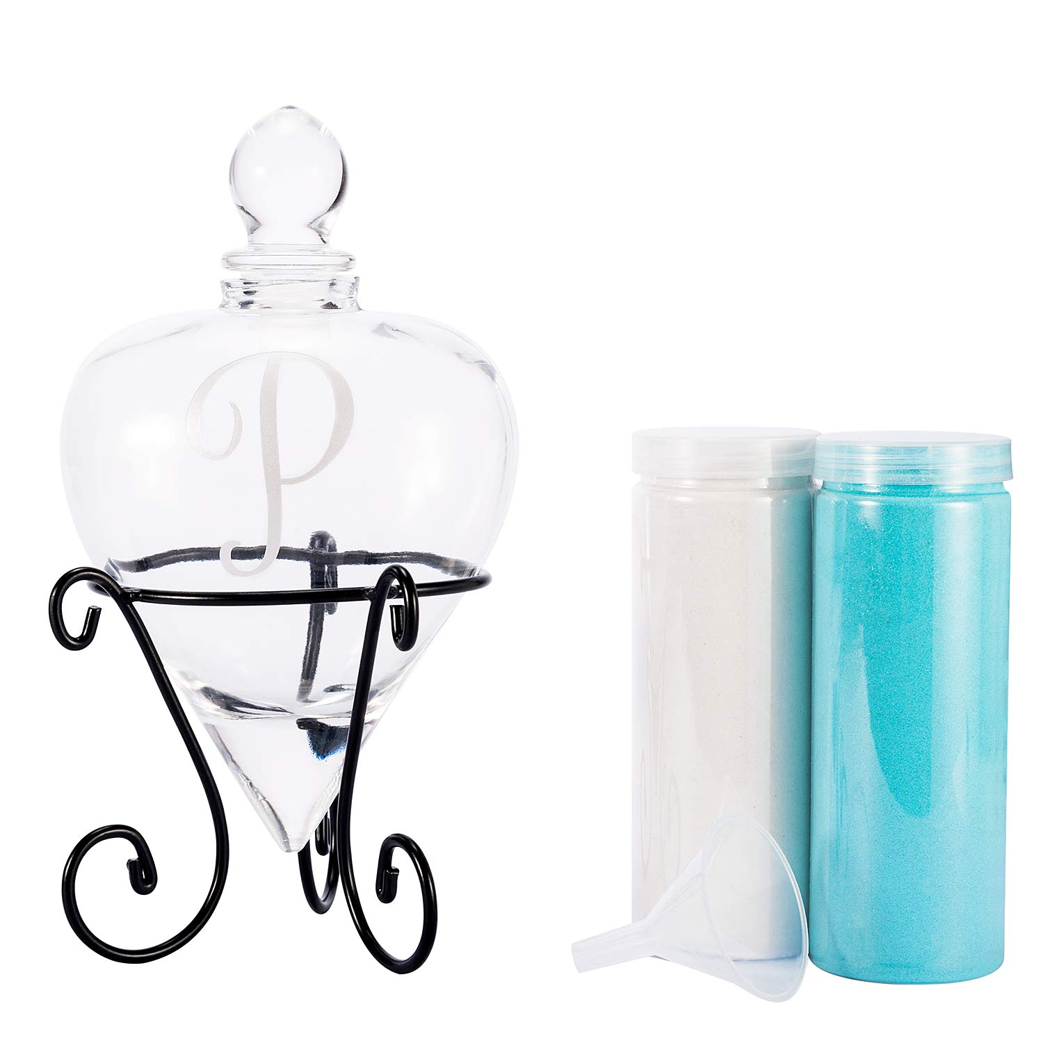 AF ANDREW FAMILY Monogrammed Etched Wedding Glass Heart Shaped Unity Set with Metal Stand-Initial P White& Blue Sand Included