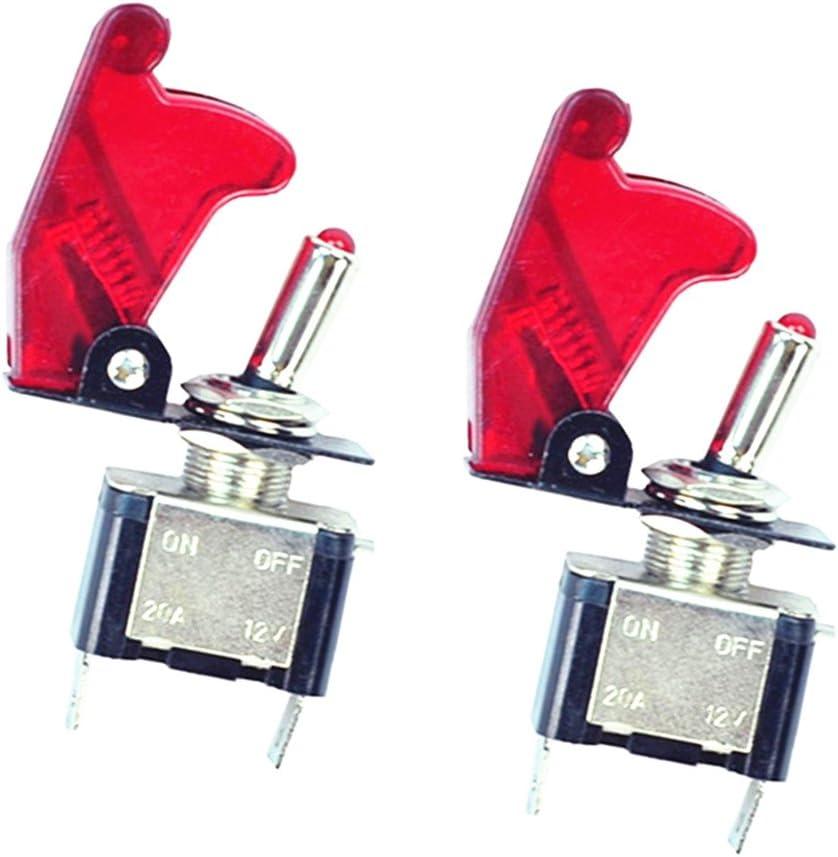 Qiorange 2x 12v 20a Auto Kfz Schalter Spst Wippschalter Ein Ausschalter Rot Led Anzeige Wechsel Switch Kippenschalter Rot Rot 2 Pcs Auto