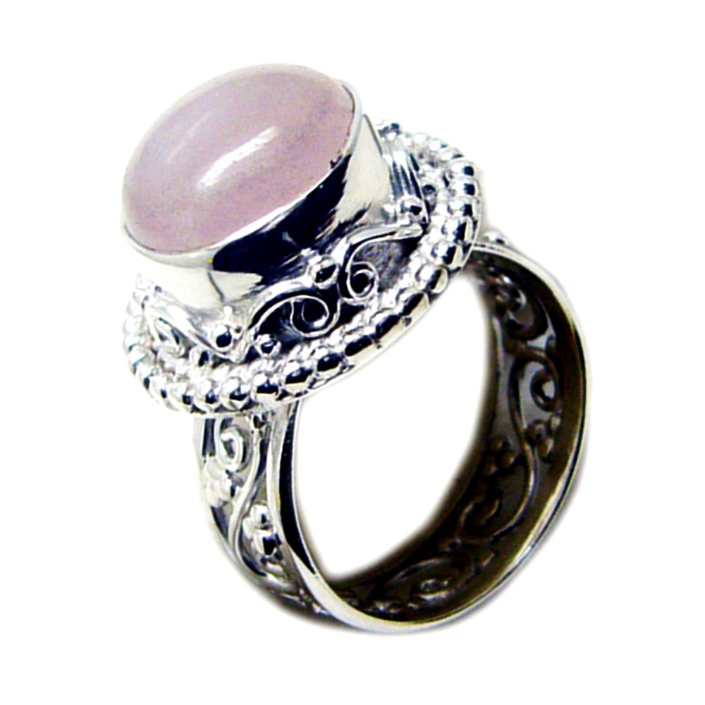 Jewelryonclick Bezel Setting Real Rose Quartz Silver Ring Vintage Round Shape Available in Size 4-12