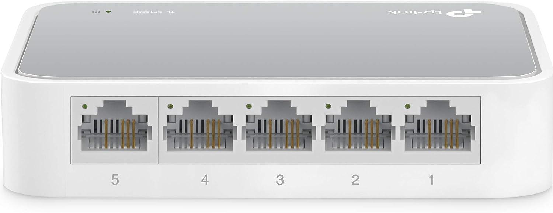 TP-Link TL-SF1005D - Switch Ethernet con 5 Puertos (10/100 Mbps, RJ45, Concentrador de ethernet, Plug and Play, sin Ventilador, No Gestionado)