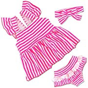 HONISEN Baby Girls Two Pieces Tankini Swimsuits Striped Ruffle Swimwear Bathing Suit Set Pink 3T