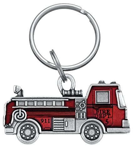 DANFORTH - Fire Truck Keyring - Red - Pewter - 2 1/4 Inches - Key Fob - Handcrafted - Made in USA