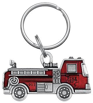 Danforth - Camión de bomberos peltre llavero (rojo): Amazon ...