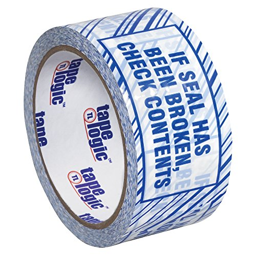 "Tape Logic T902ST026PK Security Tape, Legend ""If Seal Has Been..."", 110 yds Length x 2"" Width, 2.5 mil Thick, Blue on White (Case of 6)"