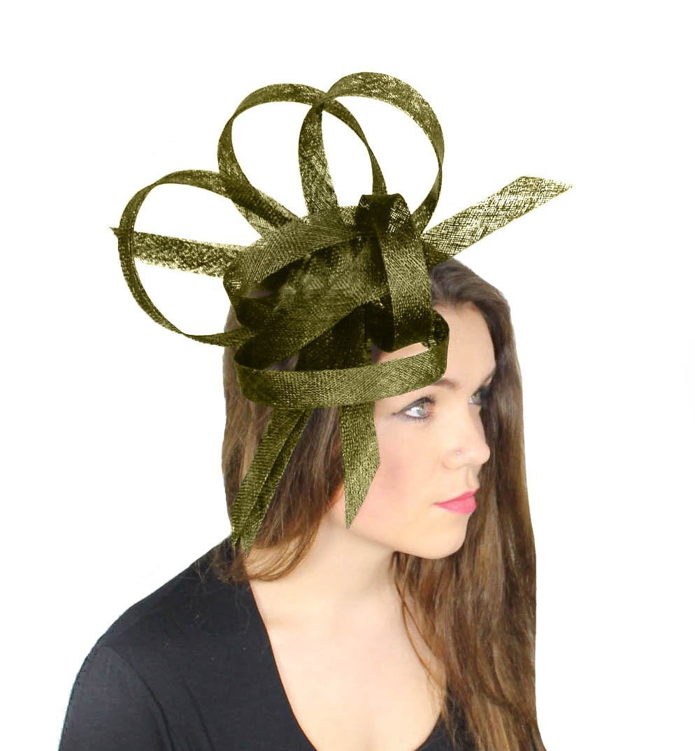 Hurricane Sinamay Ascot Fascinator Hat - With Headband Olive