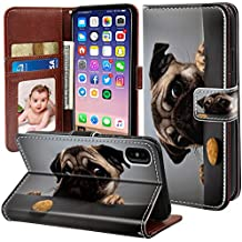 ONSPACE Wallet Case For iPhone X, Magnetic Protective Cover Case Card Slots and Wrist Strap, Custom Printed Cute Big Eyes Pugs PU leather Stand Feature iPhone 10 5.8 Inch Case