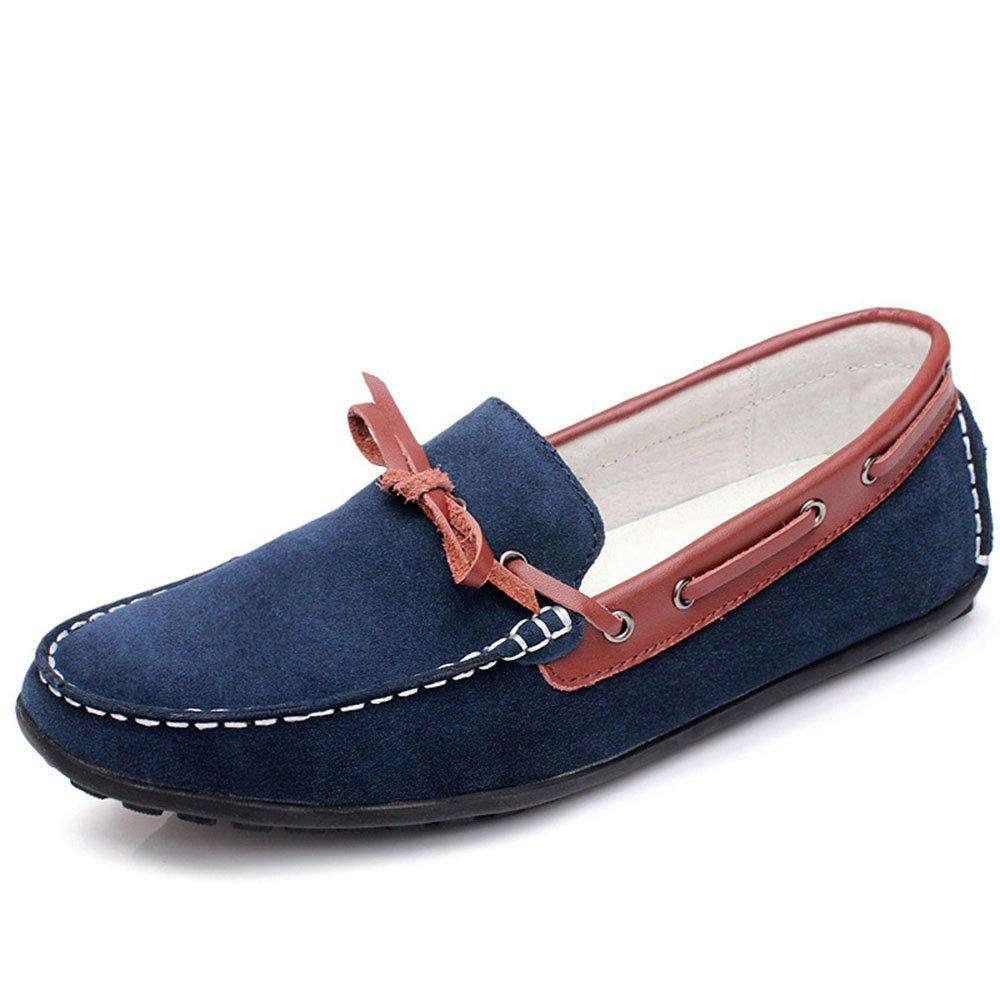 Zapatos de Cubierta de Barco con Cordones de Gamuza de los Hombres Laofers de Deslizamiento Hechos a Mano Cómodos 40 EU Azul
