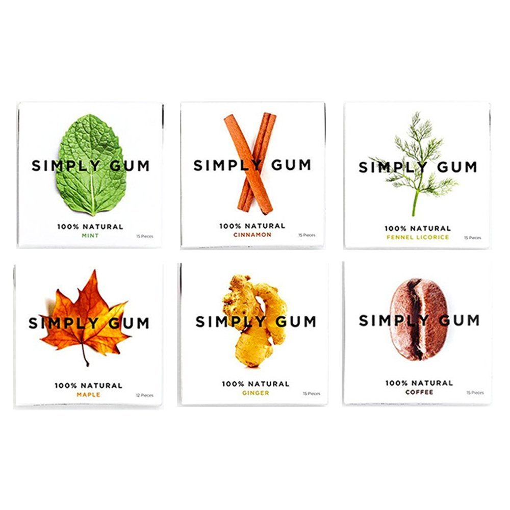 Simply Gum Natural Vegan Chewing Gum, Assorted (Mint, Cinnamon, Ginger, Fennel, Maple, Coffee), 15 Count, Pack of 6