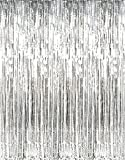 2 Packs- Foil Fringe Curtain Photo Booth Backdrop Party Decoration - 3FT x 8FT each (Metallic Sparkle) Fun for Bachelorette, Wedding and Birthday Parties - Easy DIY Decor (SILVER)