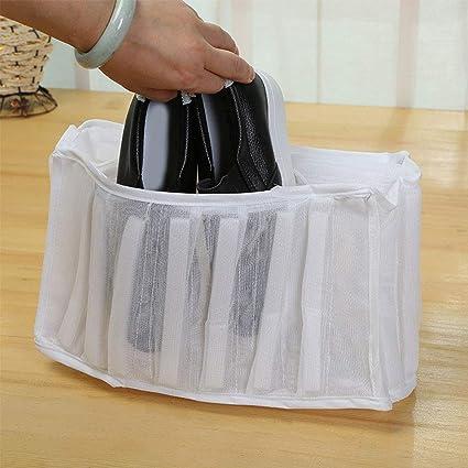 Bolsa de lavandería de malla blanca calzado zapatillas zapatillas lavadora secadora de poliéster lavado zapatos ropa