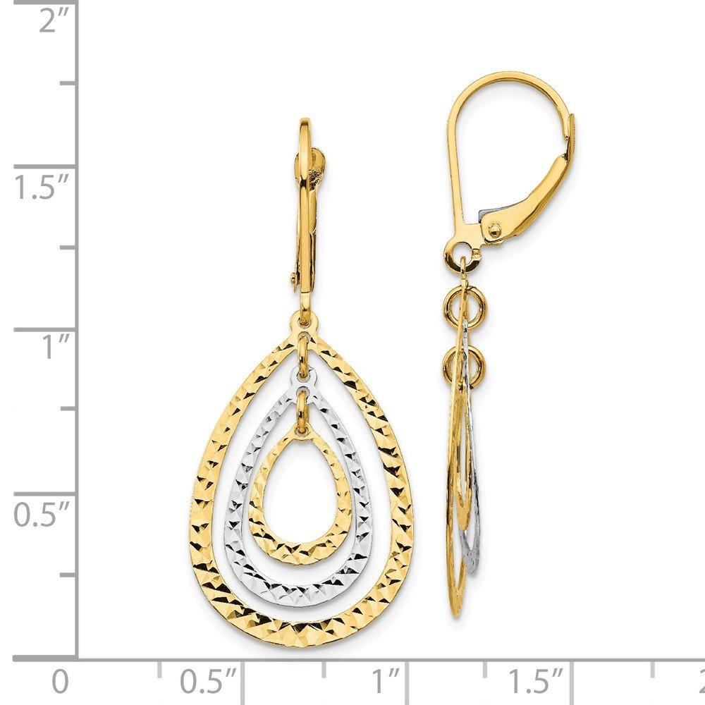 Mia Diamonds 14k Gold Two-tone Diamond-Cut Leverback Earrings
