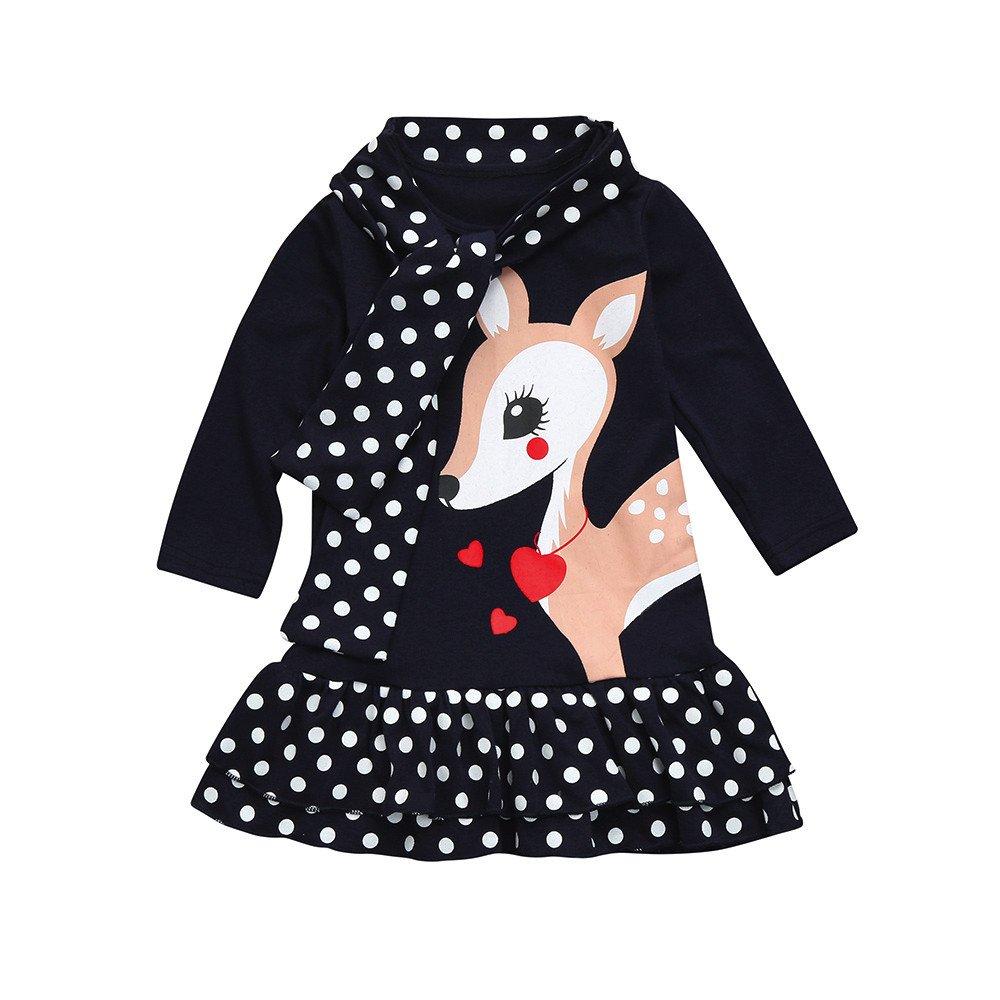 Covermason Baby M/ädchen Kleinkinder Karikatur Kleider Katze Gestreift Kleid L/ässige Kleider Prinzessin Kleider